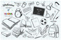 Welcome back to school vector collection. hand drawn elements. School supplies. Books, notebook, copybook, backpack, lamp, alarm c Stock Photography