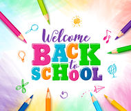 Welcome back to school vector design with colorful text vector illustration