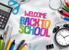 Welcome back to school vector design template with school supplies, education elements vector illustration