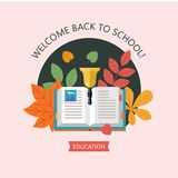 Welcome back to school. Education, school. Vector emblem, logo. Welcome back to school. Vector emblem, clipart on the theme of school and education. Colorful Royalty Free Stock Photo