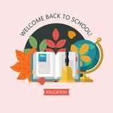 Welcome back to school. Education, school. Vector emblem, logo. Welcome back to school. Vector emblem, clipart on the theme of school and education. Colorful Royalty Free Stock Photography