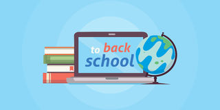 Welcome back to school, vector illustration. PC , books and globe. Welcome back to school, vector illustration Royalty Free Stock Images