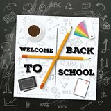 Welcome Back to School Vector Mockup.. Illustration of Welcome Back to School Vector Mockup. White Notepad on Black Chalk Board with Handdrawn Icons Stock Images