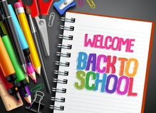 Welcome back to school vector template design with colorful school items. Education supplies elements and white space in notebook for text. Vector illustration Royalty Free Stock Photography