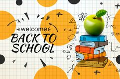 Free Welcome Back To School Web Banner, Apple And Doodle On Checkered Paper Background, Vector Illustration. Royalty Free Stock Photo - 172896535
