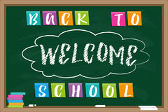 Welcome back to school. Blackboard with chalk drawn inscription and Inscription on color sticky paper. n Royalty Free Stock Images