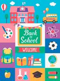 Welcome Back To School. Welcome Back To School With different Flat Icons. Education Concept. Perfect for banners, flyers, posters, cards. Vector Illustration Stock Images