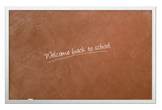 Welcome back to school written on chalkboard. On white background Royalty Free Stock Photos