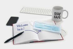 Free Welcome Back To Work Concept. Medical Protection Mask Waiting At The Desk Along With Royalty Free Stock Images - 186554309