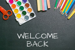 Welcome back white chalk text royalty free stock photography