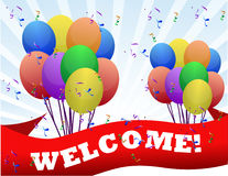 Welcome balloons and banner. Colorful Welcome balloons and banner illustration design Royalty Free Stock Photography