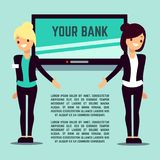 Welcome bank info page with flat girls and screen Stock Photos