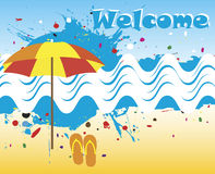 Welcome banner with abstract sea motive Stock Image
