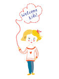 Welcome banner with child and frame Royalty Free Stock Photo