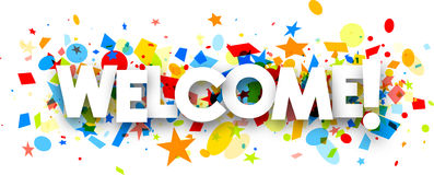 Welcome banner with colorful confetti. Welcome paper banner with colorful confetti. Vector illustration Stock Photos