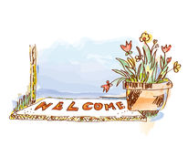Welcome banner with door and flowers. Sketchy style  graphic illustration Stock Photography