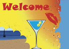 Welcome banner with drink and red lips Stock Photography