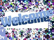 Welcome banner with floral fantasy Stock Photo