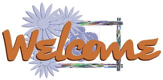Welcome banner with floral fantasy isolated Royalty Free Stock Image