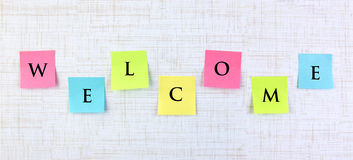 Welcome banner with sticky notes Royalty Free Stock Photography