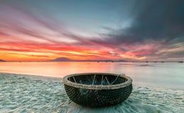 Welcome basket boat sunrise stock image
