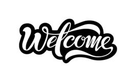 Welcome beautiful inscription isolated on white background. stock illustration