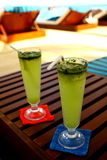 Welcome beverage. Two glasses of welcome beverage. You will drink it when you arrive Velassaru island Maldives. It tastes fantastic Stock Image