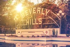 Welcome in Beverly Hills. California. City Park and the Famous Sign. California, United States stock image