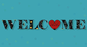 Welcome. Black Floral Letters. Unusual font Royalty Free Stock Photo