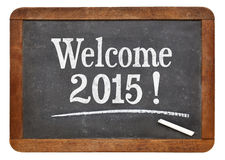 Welcome 2015 on blackboard Royalty Free Stock Photos