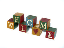 Welcome Blocks Stacked. Blocks stacked that offer the welcome message Royalty Free Stock Photo