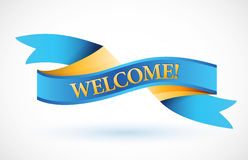 Welcome blue waving ribbon banner Stock Photo