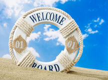 Welcome board on beach Royalty Free Stock Image