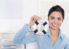 Welcome on board - Business woman in blue making recruiting. Stock Photos
