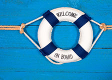 Welcome on board lifebuoy Stock Image