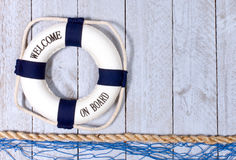 Welcome on Board - lifebuoy with text Stock Photography