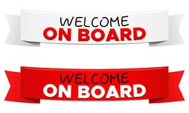 Welcome on Board Ribbon Vector Banners. Eps10 Vector stock illustration