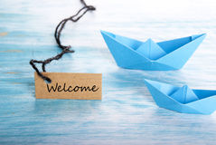 Welcome with Boats Stock Photography