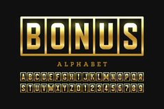 Welcome Bonus casino banner design font. Slot machine style alphabet letters and numbers stock illustration