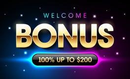 Welcome Bonus. Casino banner, first deposit bonus vector illustration