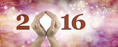 Welcome 2016 with both hands Royalty Free Stock Image