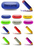 Welcome Buttons and Crayons Stock Image