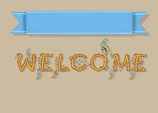 Welcome. Card with Banner for custom text stock photography