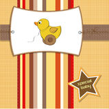 Welcome card with duck. Toy Stock Image