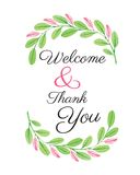 Welcome card - flower design watercolor vector Royalty Free Stock Photos