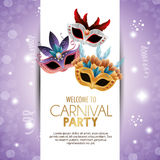 Welcome carnival party cute masks with feathers bright purple background Royalty Free Stock Photography