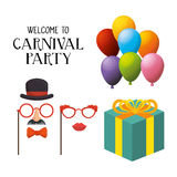 Welcome carnival party masks female gentleman gift and balloons Royalty Free Stock Photography