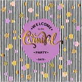 Welcome Carnival Party text, purple & gold circles, black stripes Stock Photos