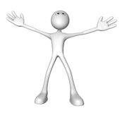 Welcome. Cartoon guy with wide open arms - 3d illustration Stock Photos