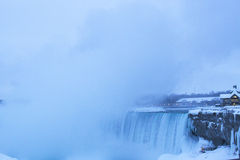 Welcome Center and Under the Falls with Horseshoe Fall in Winter Royalty Free Stock Photo